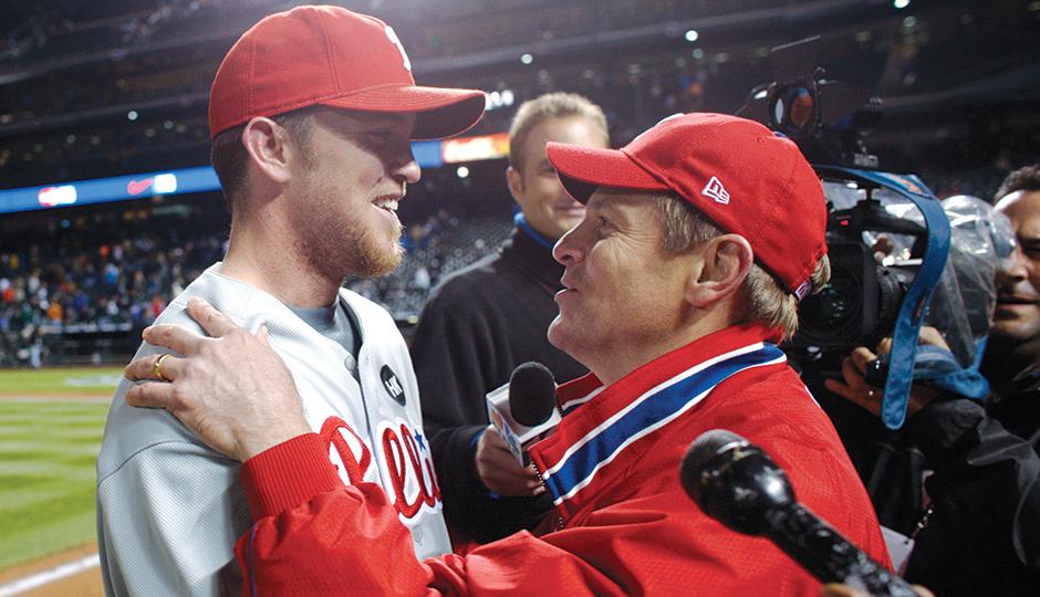 Closer Brad Lidge and John Middleton embrace after winning the 2009 NLDS | Photograph by David Zalubowski/Associated Press
