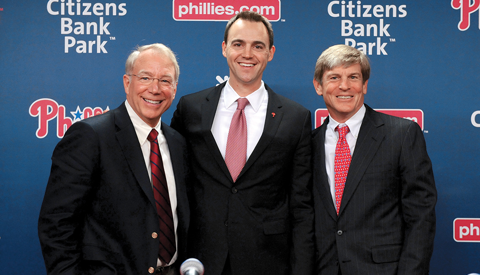 Andy MacPhail, Matt Klentak and John Middleton at a Phillies press conference in October | Photograph courtesy of the Phillies/Miles Kennedy