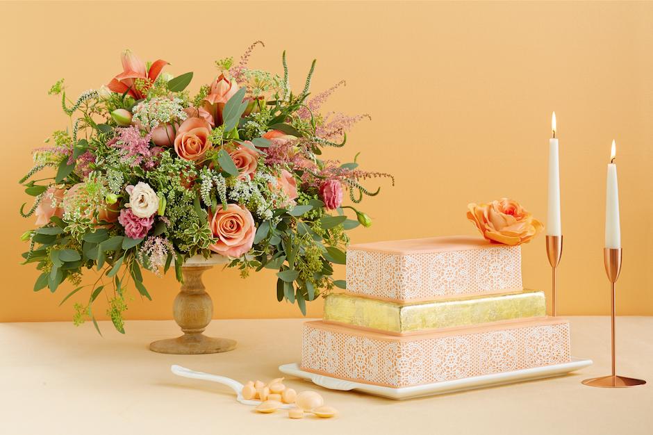 PW-peach flowers cake