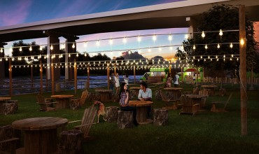 Rendering of Parks on Tap on the Schuylkill Banks at the Walnut Street Bridge