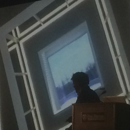 "Ingels displays an image of 1200 Intrepid's ""periscope"" at his Kahn Award talk | Photo: Sandy Smith"