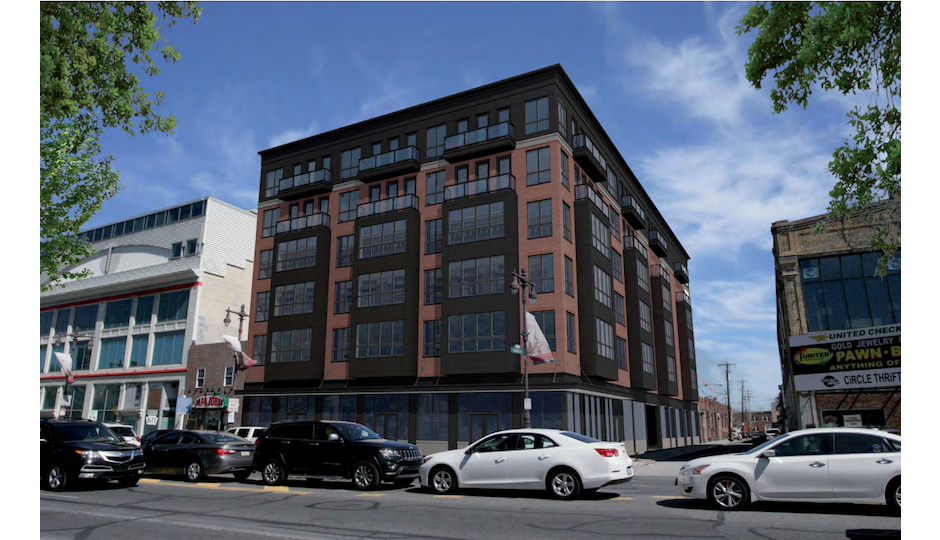 Proposed mixed-use building on Broad Street south of Washington Avenue. Rendering   Harman Deutsch Architecture