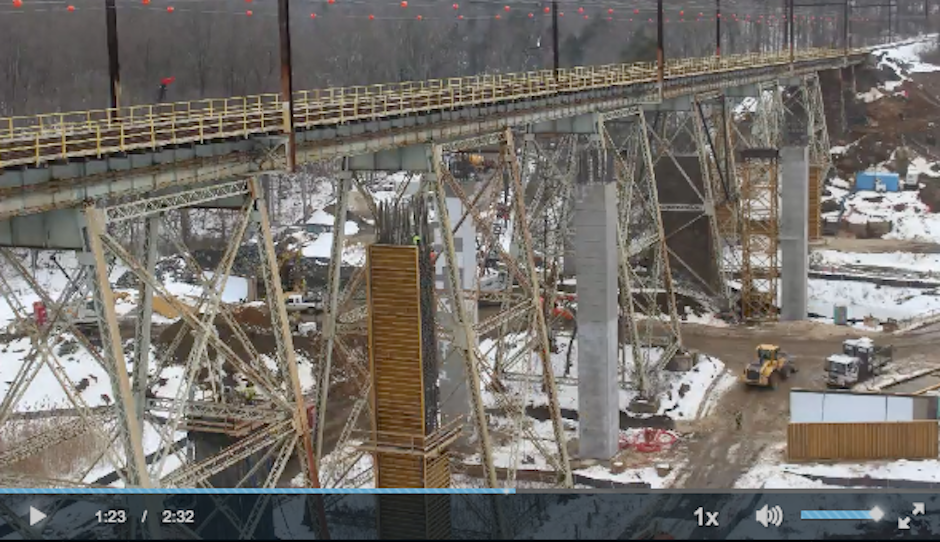 Where things stood on the Crum Creek Viaduct this past winter, about halfway through the video. | Screen shot of video from SEPTA Crum Creek Viaduct website