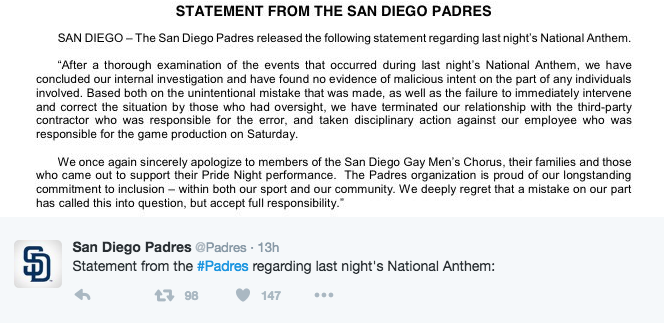 NATIONAL NEWS: San Diego Gay Men's Chorus Insulted at Padres