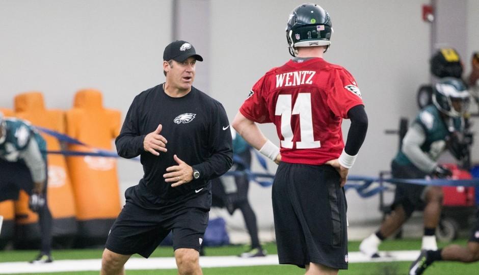 Doug Pederson and Carson Wentz. (USA Today Sports)
