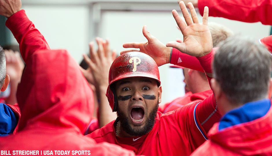 Andres Blanco reacts in the dugout after scoring during the third inning of a May 18th game against the Miami Marlins at Citizens Bank Park.