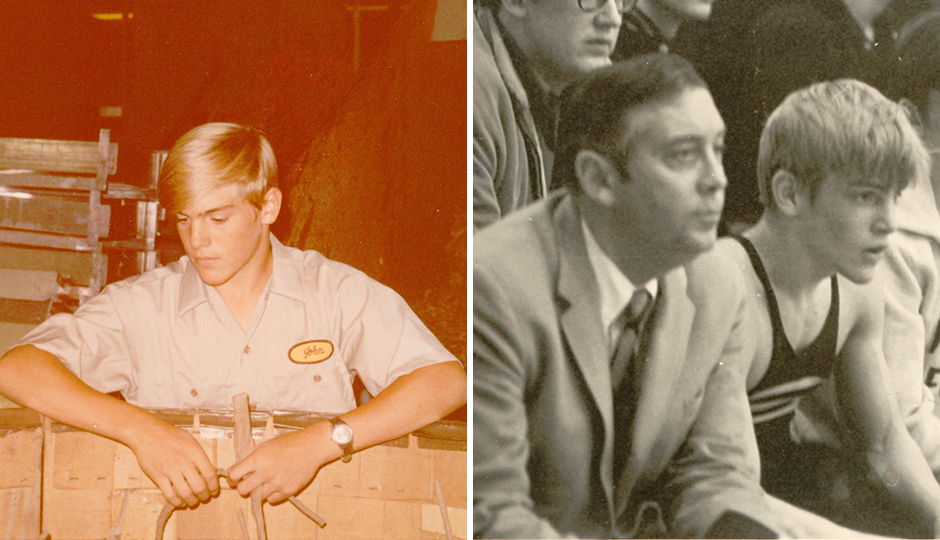 From left: Sixteen-year-old John Middleton working his first summer at his family's pipe tobacco and cigar business, John Middleton, Inc., in 1971; Herb Middleton (left) next to his son after John won a wrestling tourney, 1970. | Photographs courtesy of John Middleton.