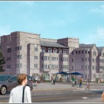Villanova's new mixed-use development will enliven the corner of Lancaster Avenue (foreground) and Ithan Avenue. | Rendering © Robert A.M. Stern Architects, courtesy Brian Communications