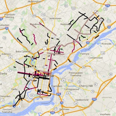 This map shows the city streets where the Bicycle Coalition is advocating for improved bike infrastructure ranging from buffered to protected lanes.