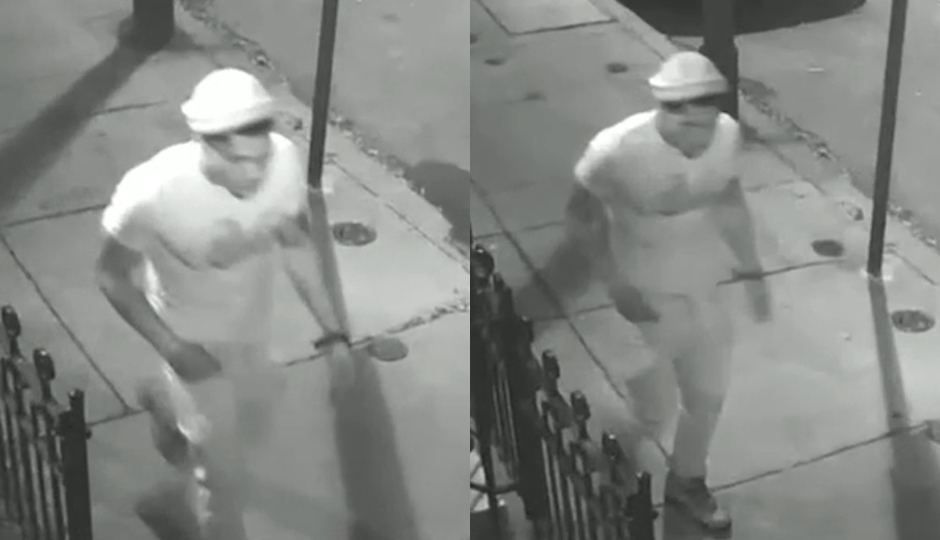 Surveillance images o f the suspect in a Queen Village robbery. (Photos via Philadelphia Police Department)