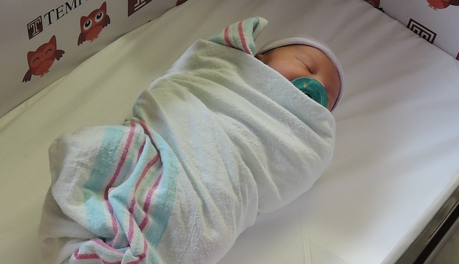 A newborn sleeping in a baby box from Temple University Hospital | Photo courtesy Temple University Hospital