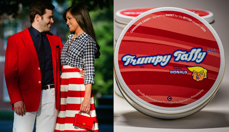 Left: Mitt Coats and Samantha Gutièrrez. (Photo by JPG Photography) Right: Product shot of Trumpy Taffy.
