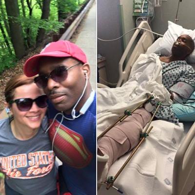 SEPTA Police Officer Gary Miller and wife, Miller in hospital   Image via Facebook