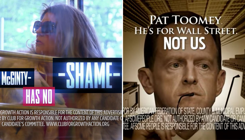 McGinty / Toomey attack ads