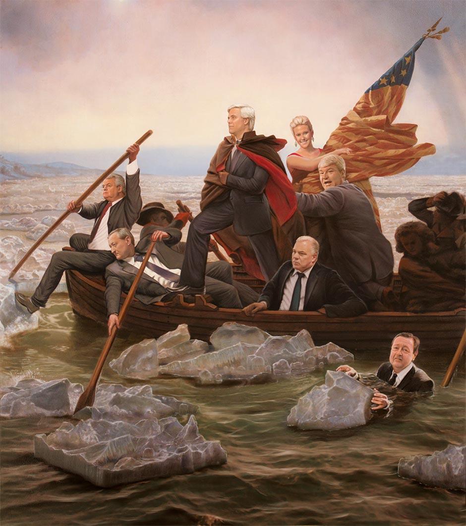 From left: Bob Brady, Jim Kenney, George Norcross, Lexie Norcross, Steve Sweeney, John Dougherty, Ed Coryell (in water). Illustration by Tim O'Brien