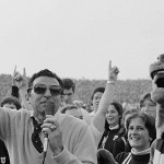 Joe Paterno, Penn State football coach, raises fingers in a victory gesture after Penn State defeated North Carolina State 19-10 at University Park, Pennsylvania, Saturday, Nov. 11, 1978.