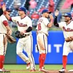 The Philadelphia Phillies celebrate after a 2-1 win against the Cleveland Indians at Citizens Bank Park on Sunday, May 1, 2016.