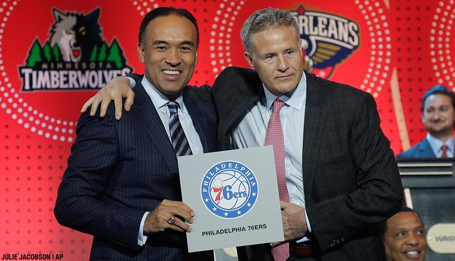 NBA deputy commissioner Mark Tatum, left, poses for a photo with Philadelphia 76ers head coach Brett Brown during the NBA basketball draft lottery, Tuesday, May 17, 2016, in New York. The 76ers won the top pick in this year's draft.
