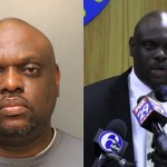 Left: Mugshot of Streets Commissioner Donald Carlton. Right: Carlton at a press conference. (Screenshot via City of Philadelphia video.)