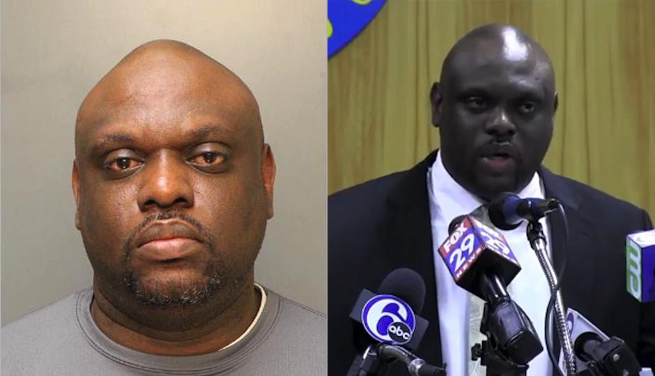Left: Mugshot of Streets Commissioner Donald Carlton. Right: Carlton at a press conference. (Screenshot via City of Philadelphia video.)