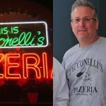 Left: The neon sign at the original Tacconelli's Pizzeria in Philadelphia: Right: Vincent Tacconelli, who stands accused of fraudulently obtaining the trademark for the brand.
