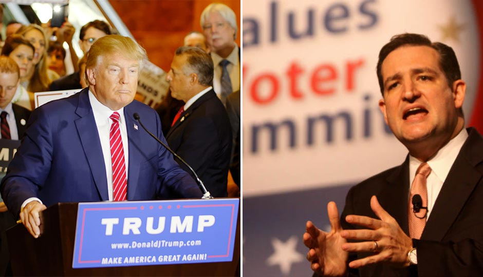 Donald Trump   photo by Michael Vadon, used under a Creative Commons license. Ted Cruz   Photo by Gage Skidmore used under a Creative Commons license