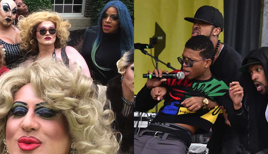 Left: Some of the Philly drag queens who performed at the ADL event strike a pose, as they are wont to do (photo via Facebook). Right: Rapper Yazz the Greatest at the event (Photo via Hugh E Dillon).