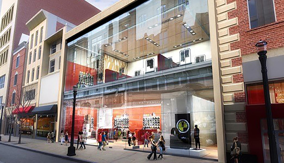This architect's rendering shows what 1520-22 Chestnut might look like once renovations are complete.   Rendering courtesy PH Retail