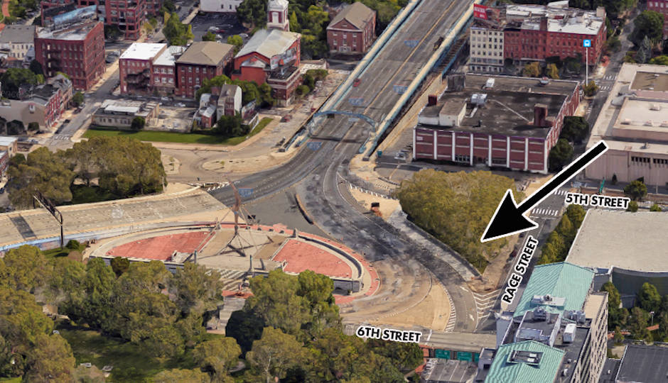 The arrow indicates the location of the Philadelphia 9/11 memorial. (Image via DRPA)