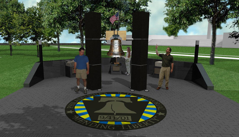 An artist rendering shows the 9/11 memorial that's coming to Philadelphia. Two pillars with a Liberty Bell between them.