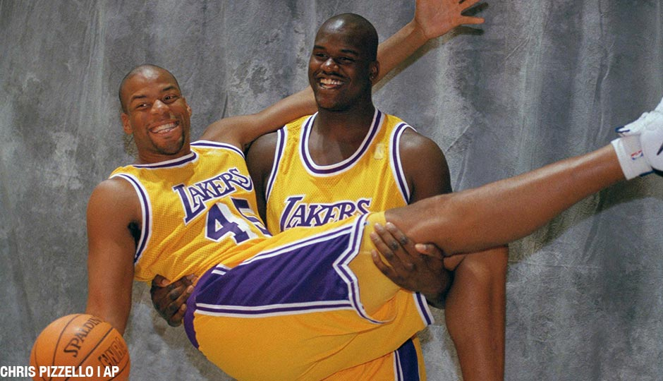 Sean Rooks with Shaquille O'Neal as members of the Los Angeles Lakers in 1996.