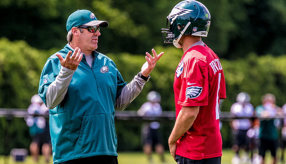 Doug Pederson and Sam Bradford. (Jeff Fusco)