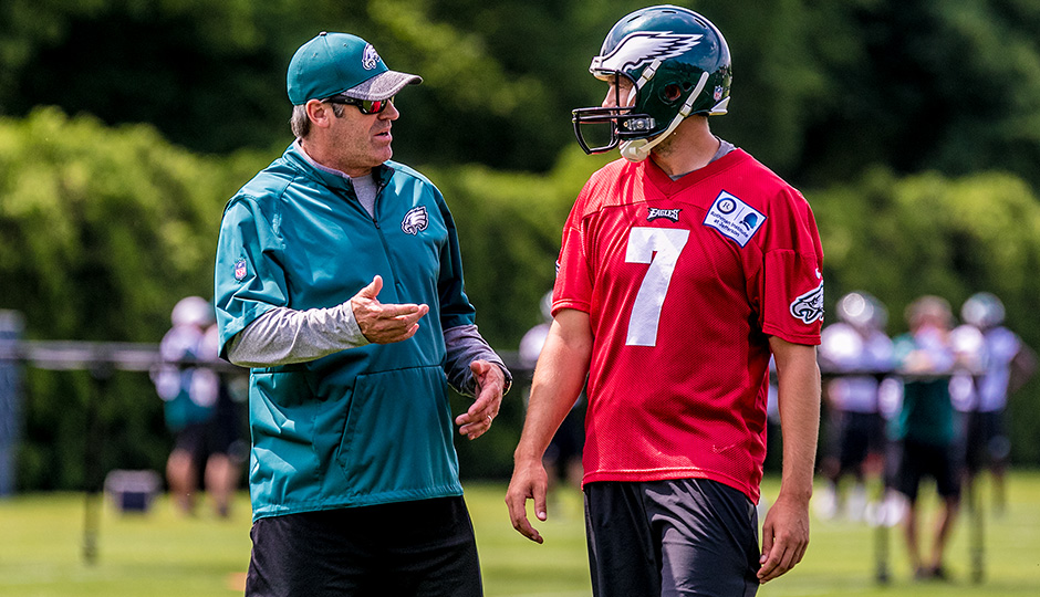 Doug Pederson and Sam Bradford. (Jeff Fusco)