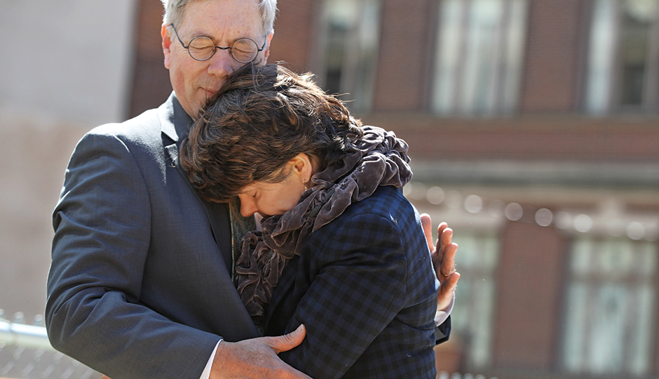 Jay Bryan and Nancy Winkler at the Market Street memorial groundbreaking in April. | Photograph courtesy of Michael Bryant/Philadelphia Inquirer
