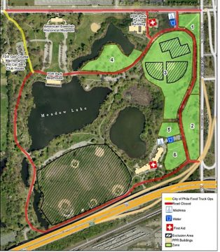 A map of FDR park outlining the restrictions in place for the DNC