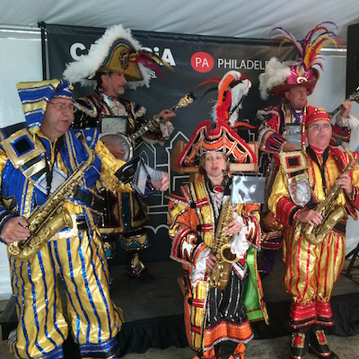 A Mummers string band detachment played several parade standards at the start of today's event.