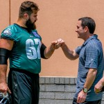 Jason Kelce and Howie Roseman. (Jeff Fusco)