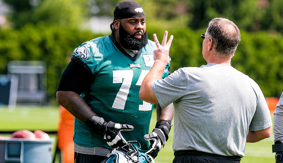Jason Peters and Jeff Stoutland. (Jeff Fusco)