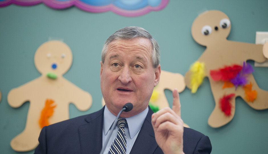 Philadelphia Mayor Jim Kenney speaks during a news conference on Tuesday, March 8, 2016, at the Rising Stars APM Preschool Center in Philadelphia. Kenney in his first budget is asking for a soda tax to help fund initiatives including universal pre-K. The William Penn Foundation announced grant to increase the availability and accessibility of high-quality early learning opportunities throughout the city. (AP Photo/Matt Rourke)