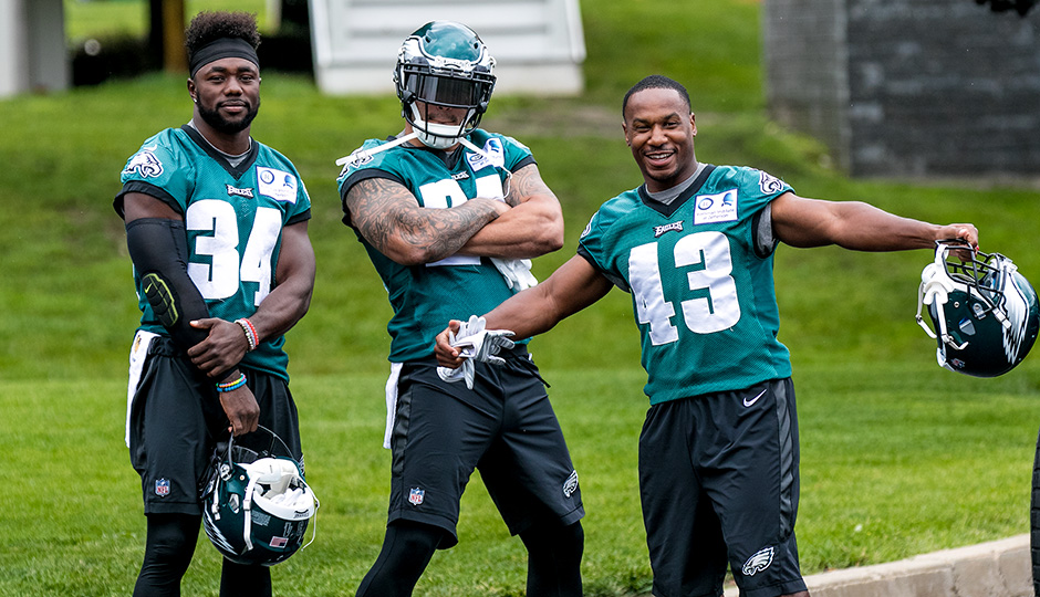 Kenjon Barner, Ryan Mathews, and Darren Sproles. (Jeff Fusco)