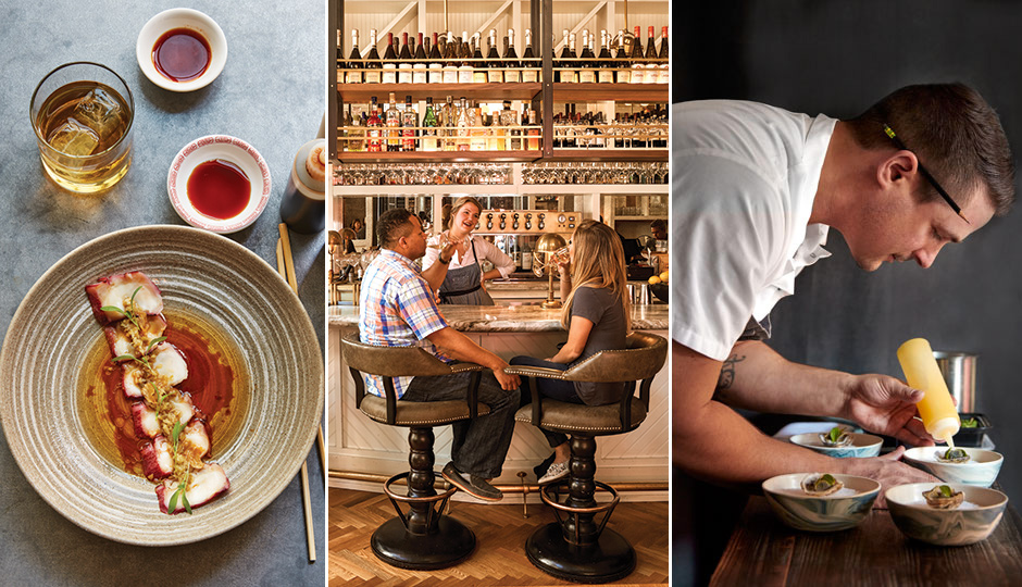 50 Best Restaurants: Octopus carpaccio at Double Knot; Bar at Tredici; Laurel's Nick Elmi | Photography by Jason Varney