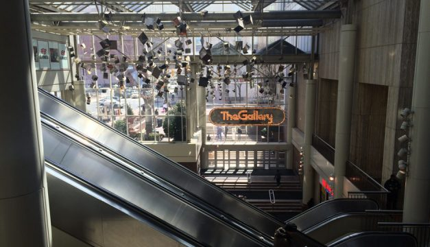 The escalators and main atrium of The Gallery in Center City, which is owned by PREIT and is currently under construction.