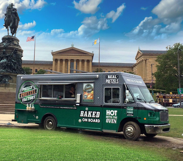 No doubt your guests will be pumped to see Philly Soft Pretzel Factory's new concession truck pull up to your reception. Photo courtesy of Philly Soft Pretzel Factory.