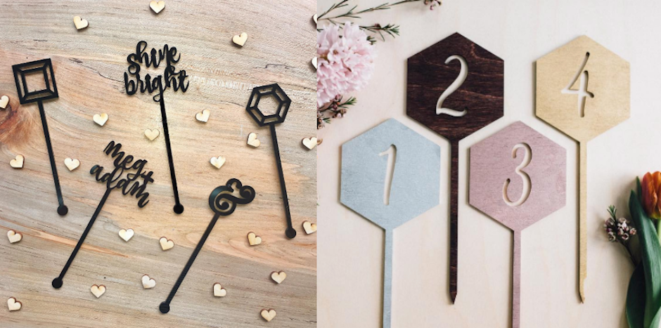 Drink stirrers and table numbers