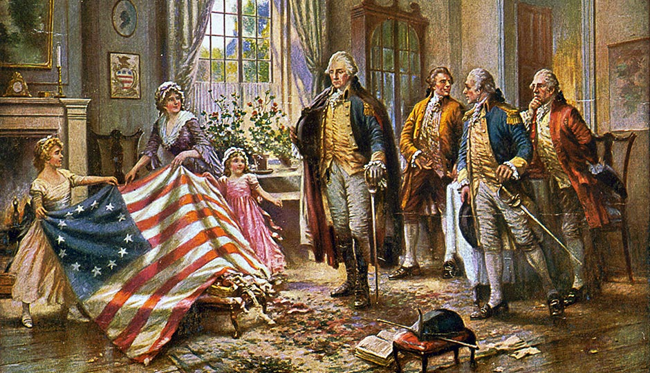 Painting depicting the story of Betsy Ross presenting the first American flag to General George Washington, by Edward Percy Moran. Public Domain.