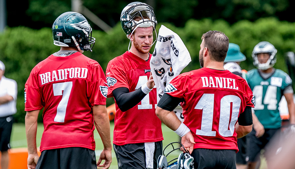 Sam Bradford, Carson Wentz, and Chase Daniel. (Jeff Fusco)