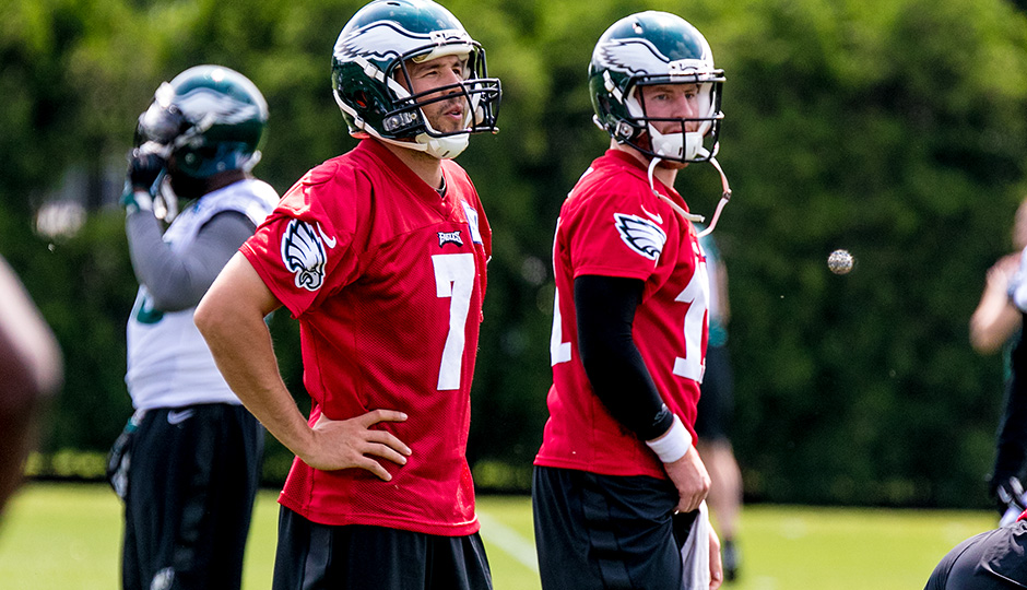 Sam Bradford and Carson Wentz. (Jeff Fusco)