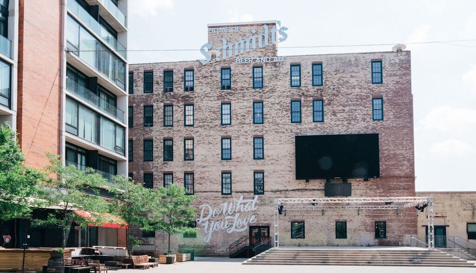 WeWork has taken 30,000 square feet of space in the last surviving remnant of the old Schmidt's brewery. It's the office linchpin of the makeover now under way at The Schmidt's Commons. | Photos: Courtesy Edelman Public Relations