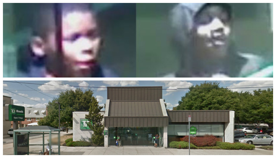 Top: Suspects wanted for assaulting a homeless man at TD Bank on May 29th.