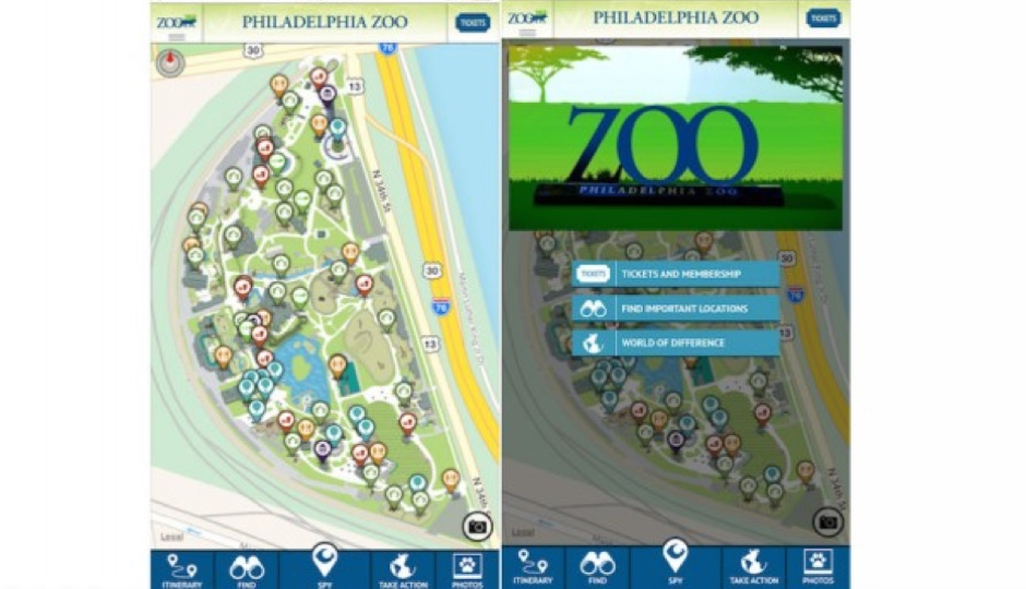 The interface of new Philadelphia Zoo app, Zoo360insider.